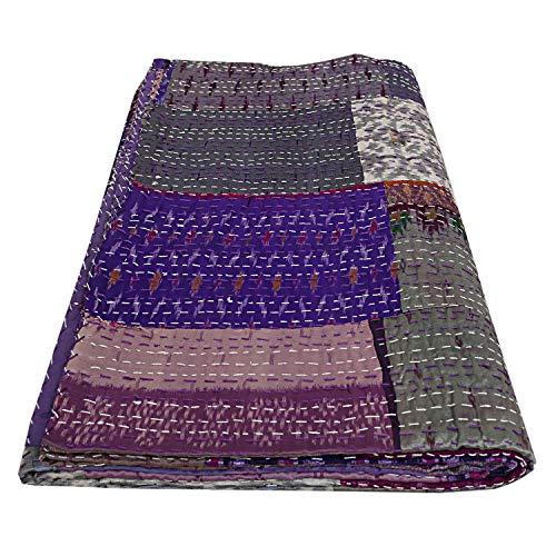 Queen Quilt Bettwäsche (Janki Creation Indische handgefertigte Patchwork-Seide Kantha Quilts Queen Handarbeit Patchwork Bettwäsche Seide Decke Ethnische lila Seide Decke)