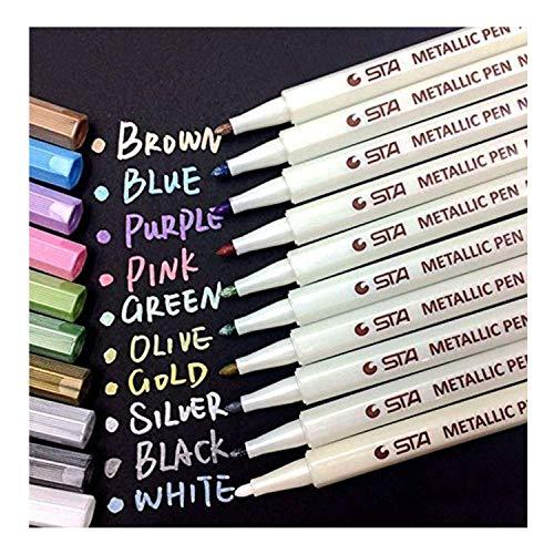 Audel Stylos marqueurs métalliques - jeu de 10 stylos de différentes couleurs métalliques assorties sur papier, verre, bois, poterie, céramique, fabrication de cartes et album photo bricolé, marqueurs