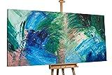 KunstLoft® XXL Gemälde 'Pfauenauge' 200x100cm | original handgemalte Bilder | Abstrakt Blau Grün | Leinwand-Bild Acrylgemälde einteilig groß | Modernes Kunst Acrylbild