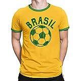 Buzz Shirts T-Shirt pour Homme Brazil Comic Ball Coupe du Monde 2018 Football Patriotique Brasil Retro