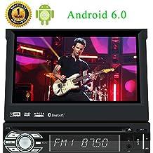 7 pouces Android 6.0 Detachaple Panel Car Stereo Quad-core Marshmallow syst¨¨me Sinlge 1DIN Bluetooth musique Radio support de navigation GPS lien miroir SD / USB CD commande au volant Lecteur DVD de voiture vid¨¦o 3G / 4G Wifi Hotspot partage