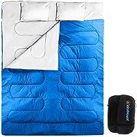 Saco de Dormir de 2 Personas 210*152cm Doble Saco de Dormir con 2 Cojines Al Aire Libre -5℃ ~ 10℃ para Verano y Otoño (Azul)