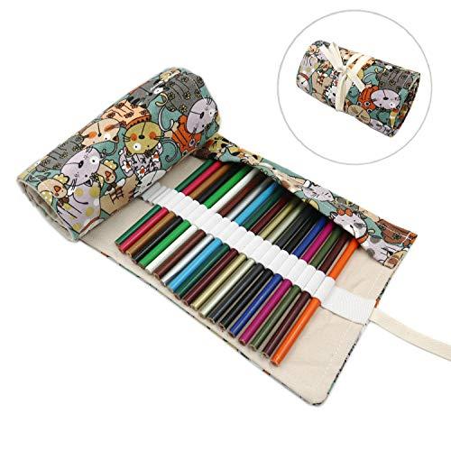 s Buntstifte Wrap Roll-up Tragbaren Bleistifte Tasche für Künstler Studenten Maler (Kätzchen, 72-Slot) ()