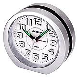 Analoge Wecker, Stille Nicht Tickende Reise 3D-Nummer Display Einfache Batteriebetriebene Nachttisch Uhr Snooze und Licht Funktionen Morgen Uhr für Kinder Home Schlafzimmer Büro Uhr (Silber)