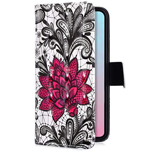 Uposao Kompatibel mit Samsung Galaxy A8 Plus 2018 Handytasche Bling Glitzer 3D Muster Handy Hülle Flip Case Cover Schutzhülle Tasche Lederhülle Bookstyle Klapphülle Kartenfächer,Rot Rose Blumen