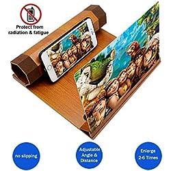 """Agrandisseur d'amplificateur de loupe écran téléphone 3d avec support en bois, loupe d'écran 12 """"zoom 2-6 fois avec angle et distance réglables, amplificateur de film pour tous les smartphones"""