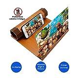 Lupa de pantalla de teléfono 3D con soporte de madera, pantalla de 12 'con zoom de 2 a 6 veces para...
