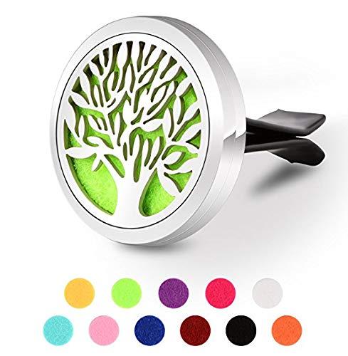 BSTUB Auto-Lufterfrischer Aromatherapie ätherisches Öl Diffusor Clip, Edelstahl-Medaillon Clip für Auto mit 11Refill Pads, Edelstahl, Tree of Life Green, 3CM