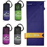 Premium Hüttenschlafsack aus Hightech Mikrofaser mit Kissenfach plus GRATIS E-Book
