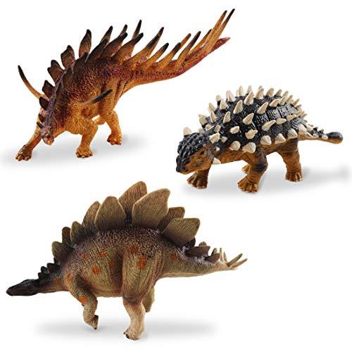 deAO Dinosauri Giocattolo Progettazione Realistica Figure Preistoriche Set di 3pzi Personaggi del Giurassico Plastica Dura Stegosaurus, Ankylosaurus & Kentrosaurus
