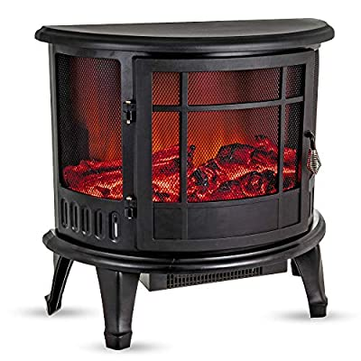 Fineway Electric Stove Heater with Log Burner Flame Effect Fire - 1800W, Black - Freestanding Fireplace with Wood Burning LED Light - Adjustable Temperature & Flame Panoramic Design With Large Window