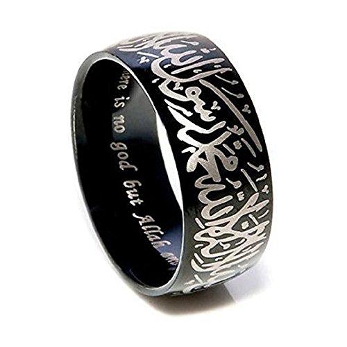 Männer Ringe Für Frieden (Kalima Shahada islamisches Glaubensbekenntnis Ring aus Edelstahl für Männer und Frauen (9, schwarz))