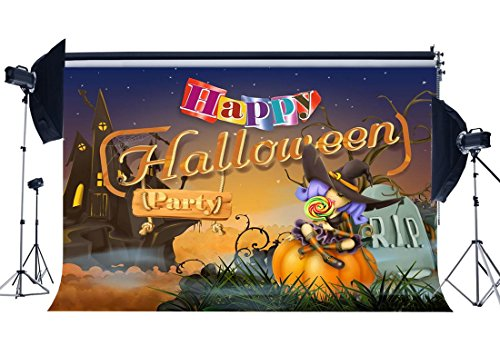 EdCott Happy Halloween Backdrop 9X6FT Vinyl Spooky Haunted Castle Kulissen Allerheiligen 'Tageslutscher Wizard Horrible Hallowmas Fotografie Hintergrund für Kostüm Party Foto Studio Prop (Halloween Kostüme 6x)