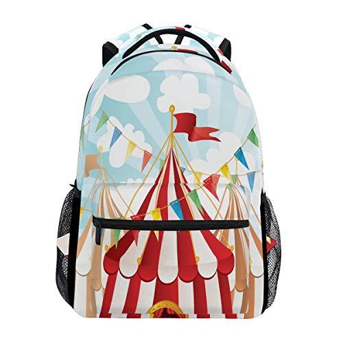 Carnival Zirkus Hintergrund Rucksack Wasserdicht Schulrucksack Gym Rucksack Rot Blau Weiß Laptop Tasche Outdoor Reise Tasche für Kinder Jungen Mädchen Damen Herren