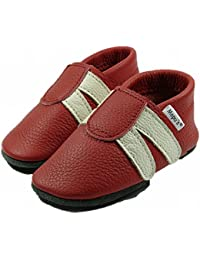 Mopu's® Krabbelschuhe - Lederpuschen im Turnschuhlook - rot mit weißen Streifen - handgemachte Markenqualität aus Deutschland
