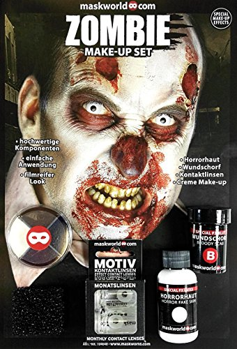 Hochwertiges Halloween ZOMBIE Make-Up Set, SFX-Komponenten Special Effects like Hollywood für Zombies, inkl. umfassender Anleitung und Schminktipps