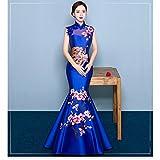 HU Robe de Déguisement de Mariée de Broderie de L'Épaule de Cheongsam Chinois Robe de Dégustation Rouge de Queue de Poisson Mince de Queue de Soirée,Ré,XL