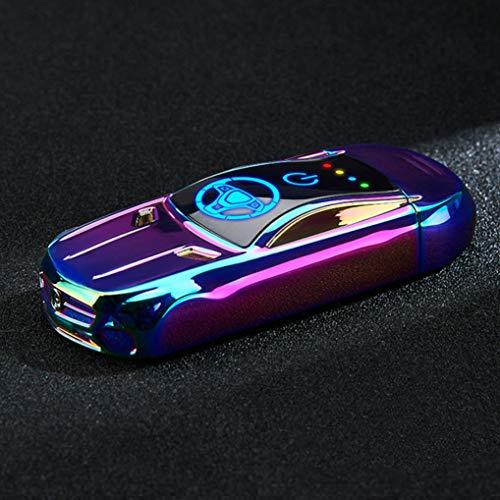 GuDoQi Accendino Elettrico Doppio Arco, Accendino Ricaricabile USB, Accendino Senza Fiamma, con Impronta Digitale per L'accensione, Antivento, in Lega di Zinco Made Mini Car Shaped (Multicolore)