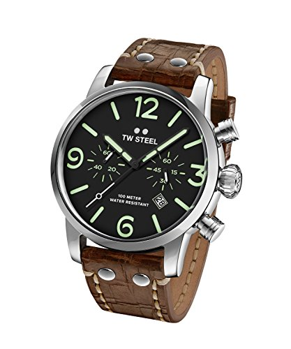 TW Steel Maverick Unisex Quartz Watch with Black Dial Chronograph Display and Brown Leather Strap MS13