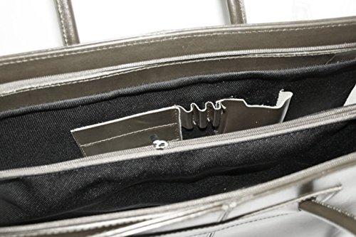 Leder Damen Business- / Akten-/ Laptoptasche mit Schulterriemen Italy Mod.2026-p Grau