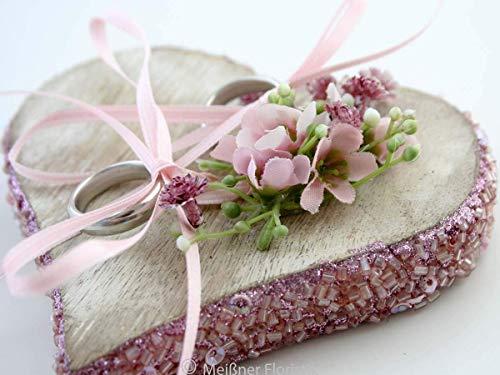 Ringkissen Holz Herz rosa Glamour