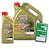 1 L + 5 L = 6 Liter Castrol EDGE Titanium FST™ Turbo Diesel 5W-40 Motor-Öl inkl. Ölwechsel-Anhänger