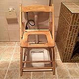 TUJHGF Massivholz WC Stuhl Klapp Mobile WC Hocker Alter Mann Schwangere Frau Poop WC Stuhl Bad Hocker