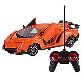 FOONEE Voiture de Course télécommandée Stunt Car, Voiture de Course à Double Porte, Voiture électrique à 4 Voies modèle pour Enfant Jouet de Voiture avec télécommande. Lamborghini Gelb