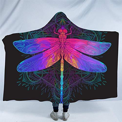 Adult Hooded Fleece (WWTZ Dragonfly Hooded Blanket Mandala Buntes Sherpa-Fleece Tragbare Decke Adult Purple Pink Insect Bedding)