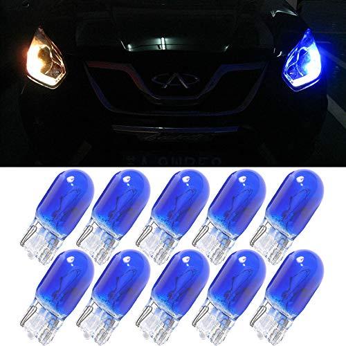 Blaue T10 W5W Auto-Leuchtmittel - 10 Stück, 194 168 501 Halogen-Glühbirne, Xenon Gas Ersatzbirne fürs Auto, zur Türbeleuchtung, Kennzeichenbeleuchtung, Armaturenbrett, helles Licht, 12 V Gleichstrom -