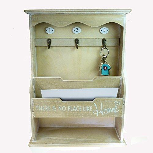 Rotix Schlüsselbrett Briefablage 40x30x10 cm Schlüsselkasten Organizer Postablage Landhaus Holz Vintage für Diele und Flur -