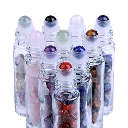 Roll On Glasflaschen für ätherisches Öl 10 ml Glasroller Nachfüllbarer Behälter für ätherische Öle Edelstein-Rollerball für ätherische Öle,Aromatherapie, Duft Naturkristall-Rollerbälle -