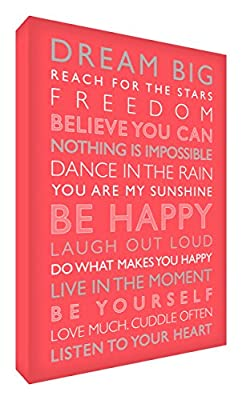 Feel Good Art Gallery Wrapped Box Canvas with Solid Front Panel (30 x 20 x 4 cm, Small, Coral, Be Happy from the Inspiration Collection) - inexpensive UK light shop.