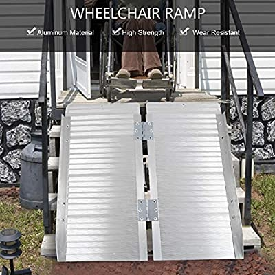 Semme Aluminium-Rollstuhlrampe, tragbare faltende Kofferrampe für Rollstühle oder Roller-Trägergestell mit Griff-Mobilitätshilfe