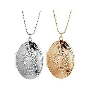Blisfille Gold Halskette Männer Anhänger Medaillon Damen Amulett Zum Öffnen Mit Kette Silber/Gold Tropfen Graviert Blumen Anhänger Fotomedaillon