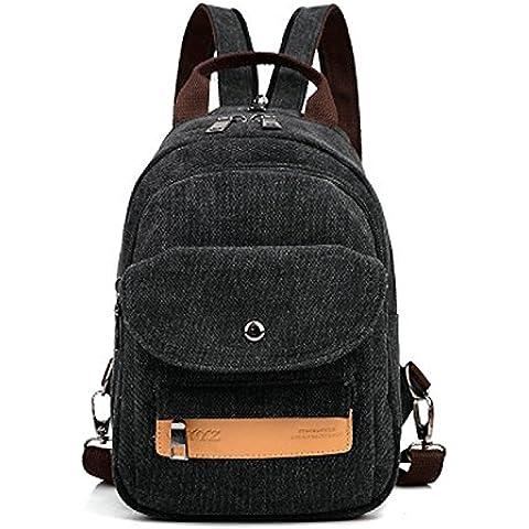 Donna Chest Pack Scuola di Korean Air spalla tela leisure sport utility doppia spalla sacchetta,Nero - Sport Sacchetta