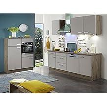 Menke Premium Einbau Küchenzeile Küche 340 cm San-Remo sahara beige matt Ceran