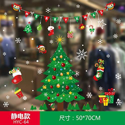 HAPPYLR Weihnachtsaufkleber Glasaufkleber Alter Mann Aufkleber Fenster Fensteraufkleber Tür und Fenster Dekorationen Szene Layout Ideen, ()