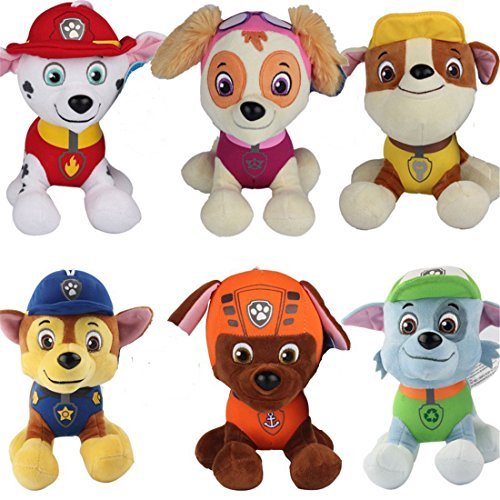 Sincerity Forever 6 Pcs Paw Patrol Soft Toy Plush Doll 8'', Zuma Skye Rubble Rocky Marshall Chase