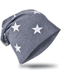 Baby Kinder Jersey Slouch Beanie Long Mütze mit Stern Unisex Baumwolle Trend