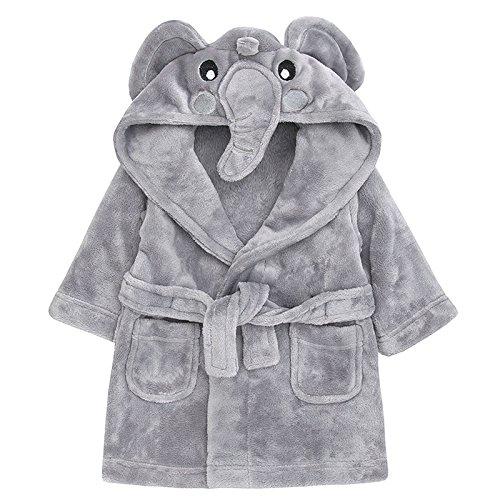 Baby-Neuheit-Bademantel-Baby-Elefant oder kleine Küken mit Kapuze Gesicht Detail 6-12 12-18 18-24 (6-12 Monate, grauer Elefant) (Junge Küken)