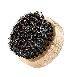 Plemo Bartbürste Bartkamm Bart Pinsel Durchmesser 9 cm Bartlänge 5 mm, aus Wildschweinborsten zur Schnurrbartpflege und -Styling mit Aufbewahrungsbox (Rund Form)