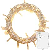 YOSION 50/100/200/300/400/500 LED Battery Power Operated String Fairy Lights Christmas Xmas Garden Party Wedding Decoration (Warm White, 200 LEDs)
