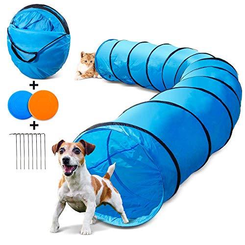 Masthome Katzentunnel 60cm x 505cm, Spielzeug Tunnel für Hunde und Katze mit 2 Fliegende Scheibe und Metalltülle,Outdoor Haustier Spielzeug