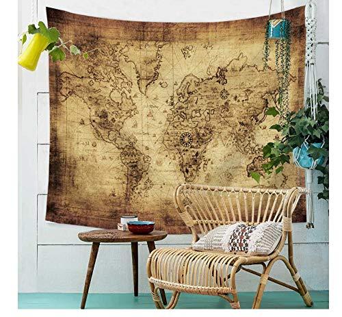 ltkarte im nordischen Stil aus Polyester-Strandtuch, Yoga-Schalkissen aus Polyester-Decke, A12, 150x200cm ()