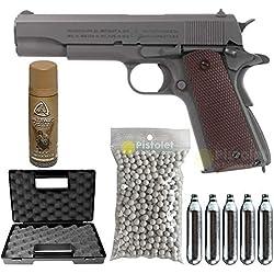 Airsoft-Pack Colt M1911 A1 Parkerized/Semi-Automatique/Blowback/métal/Puissance 0.5 Joule/livré avec Accessoires