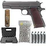 Airsoft-Pack Colt M1911 A1 Parkerized/Halbautomatik/Blowback/Metall/Leistung 0,5 Joule/Lieferung mit Zubehör
