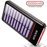 RLERON Powerbank Solar Tragbares Ladegerät 25000mAh Solarladegeräte mit Dual Eingangsports und 3 USB Ausgängen, Digitalanzeige hohe Kapazitäts Externer Akku für Das Tablette, Android/iOS Phone