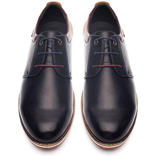 Formal Oxford Derby Schuhe fur Herren - PU Lederschuhe Herren, Beste Wahl fur Hochzeits Geschaft und Tagliche Abnutzung, Bequeme Flache Herrenschuhe, Passend fur Alle Saison SS001-BLUE-41 (Derby Oxford)