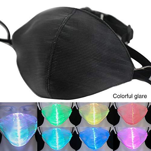 Den Stars Kostüm Tanzen Mit - Sweet48 LED-Gesichtsmaske mit 7 Farben, wiederaufladbar, über USB wiederaufladbar, leuchtende Staubmaske für Weihnachten, Partys, Festivals, Tanzen, Rave Maskerade Kostüme